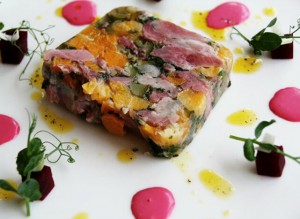 3G Event Catering London and Croydon - Hake loin fillets wrapped in basil and Parma ham served with a cherry tomato compote